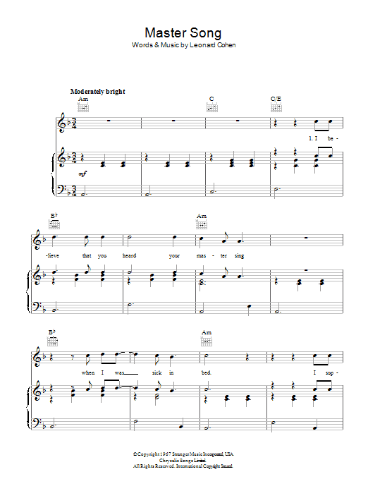 Leonard Cohen Master Song sheet music preview music notes and score for Piano, Vocal & Guitar (Right-Hand Melody) including 4 page(s)