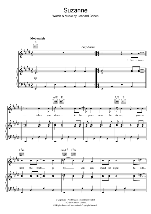 Leonard Cohen Suzanne sheet music notes and chords