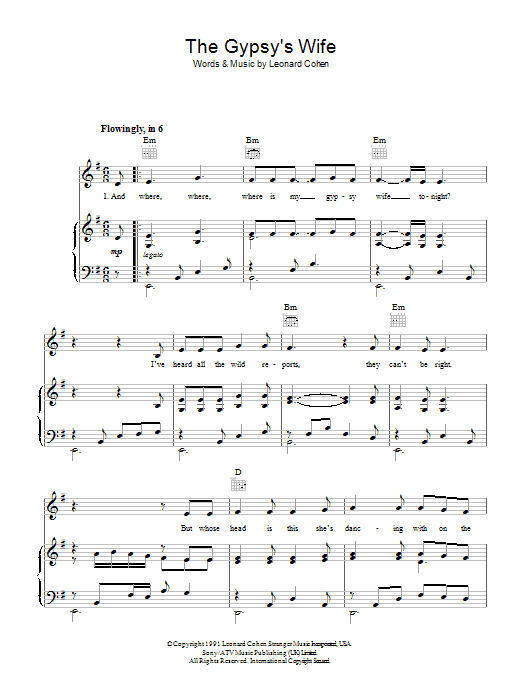 Leonard Cohen The Gypsy's Wife sheet music preview music notes and score for Piano, Vocal & Guitar (Right-Hand Melody) including 3 page(s)