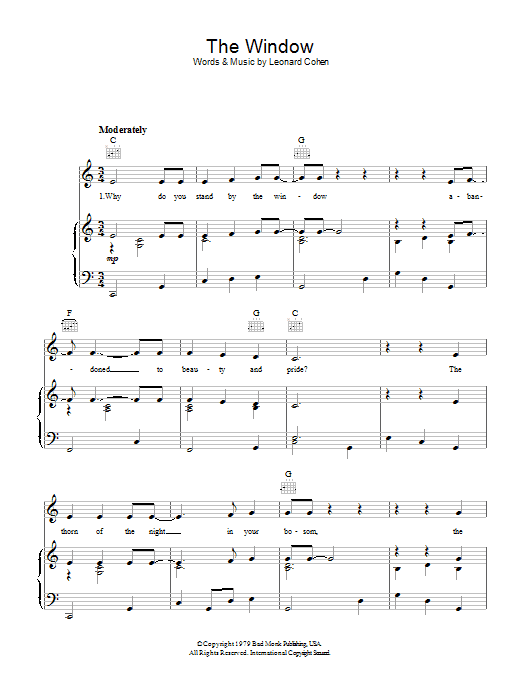Leonard Cohen The Window sheet music preview music notes and score for Piano, Vocal & Guitar (Right-Hand Melody) including 4 page(s)