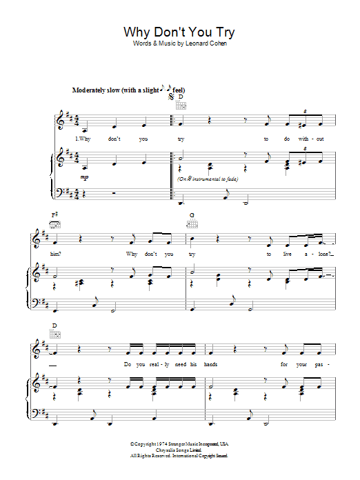 Leonard Cohen Why Don't You Try sheet music preview music notes and score for Piano, Vocal & Guitar (Right-Hand Melody) including 3 page(s)