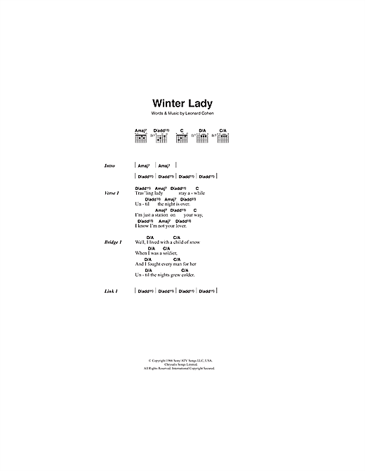 Leonard Cohen Winter Lady sheet music notes and chords