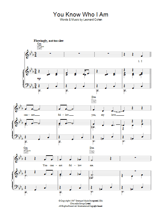 Leonard Cohen You Know Who I Am sheet music preview music notes and score for Piano, Vocal & Guitar (Right-Hand Melody) including 3 page(s)