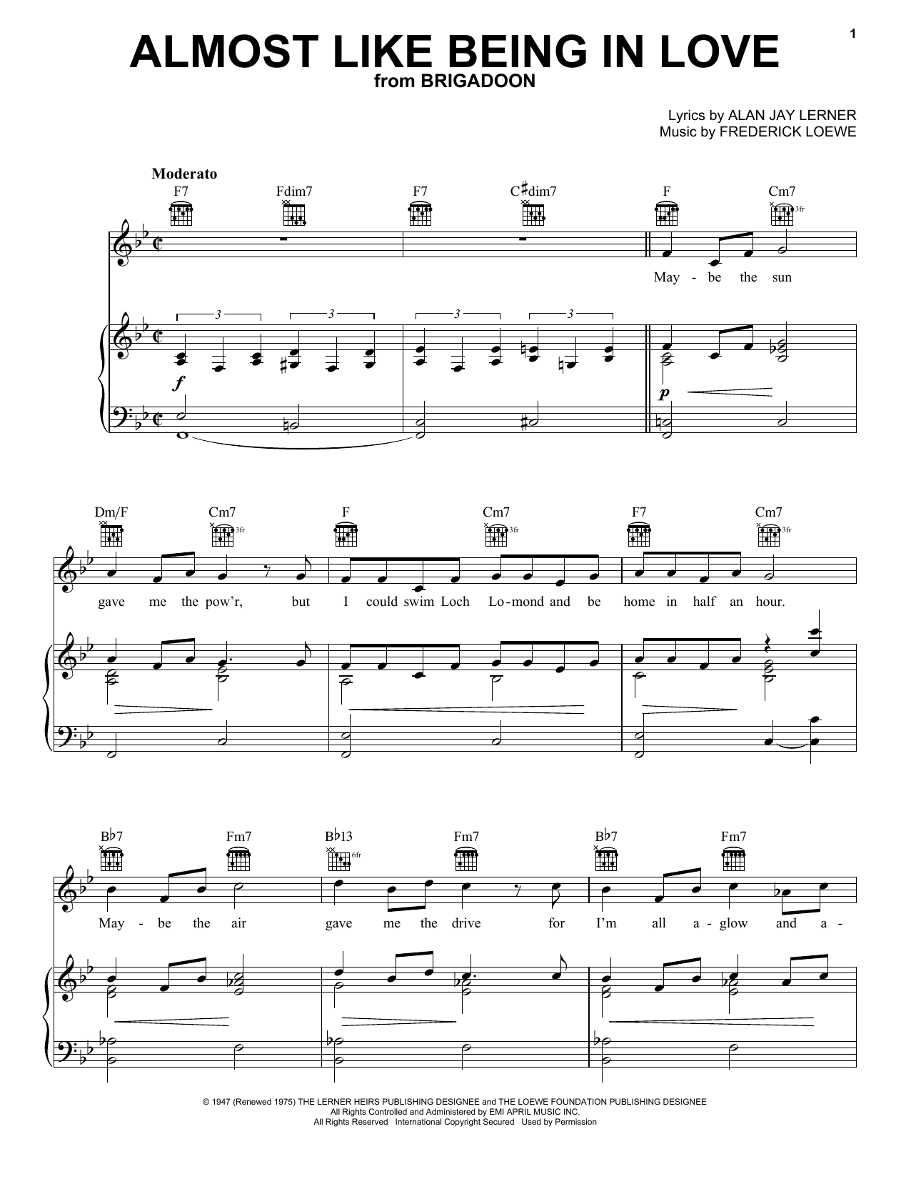 Lerner & Loewe Almost Like Being In Love sheet music preview music notes and score for Piano, Vocal & Guitar (Right-Hand Melody) including 4 page(s)