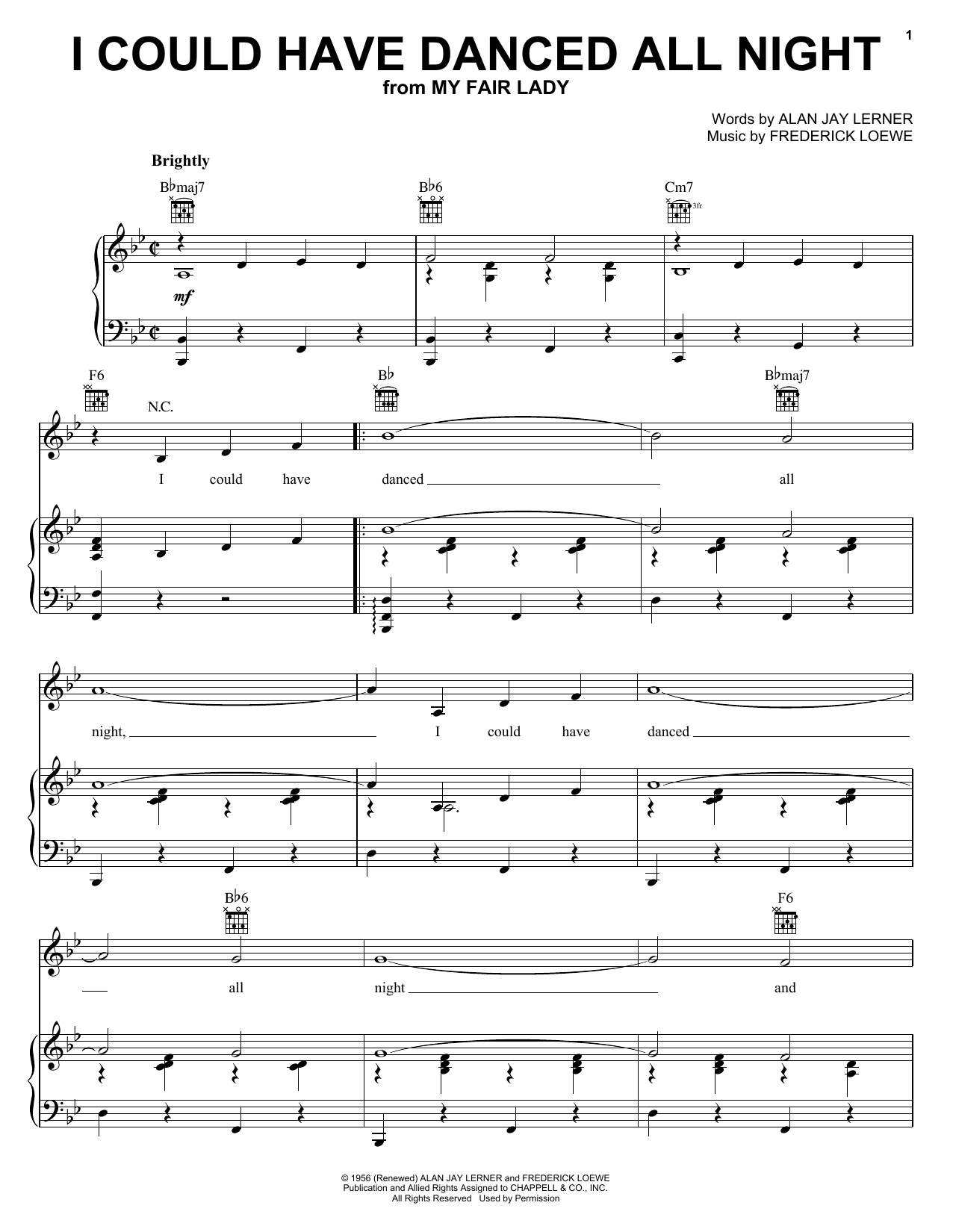 Lerner & Loewe I Could Have Danced All Night sheet music notes and chords