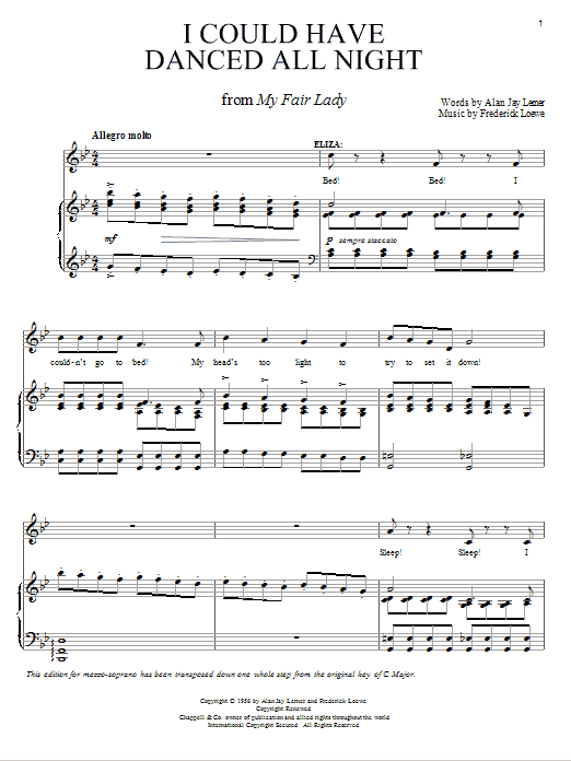 Lerner & Loewe I Could Have Danced All Night sheet music preview music notes and score for Piano, Vocal & Guitar (Right-Hand Melody) including 5 page(s)