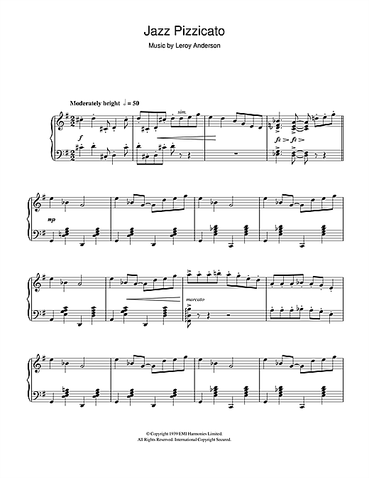 Download Leroy Anderson 'Jazz Pizzicato' Digital Sheet Music Notes & Chords and start playing in minutes