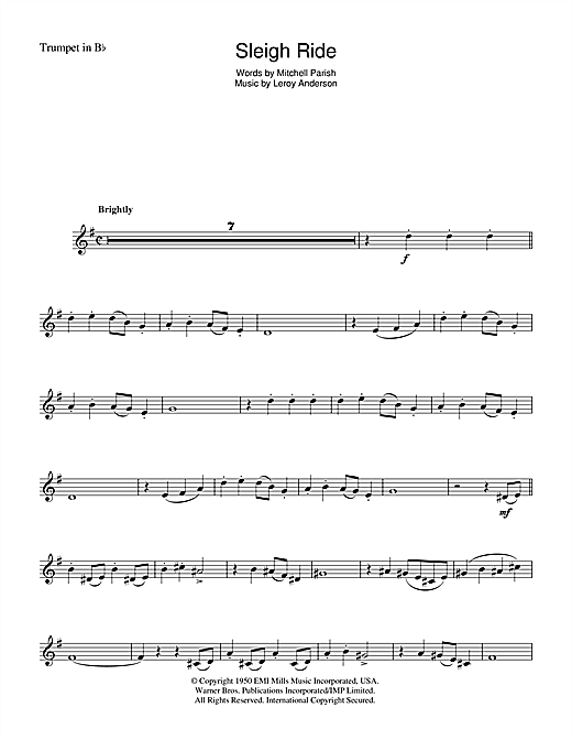 Download Mitchell Parish 'Sleigh Ride' Digital Sheet Music Notes & Chords and start playing in minutes