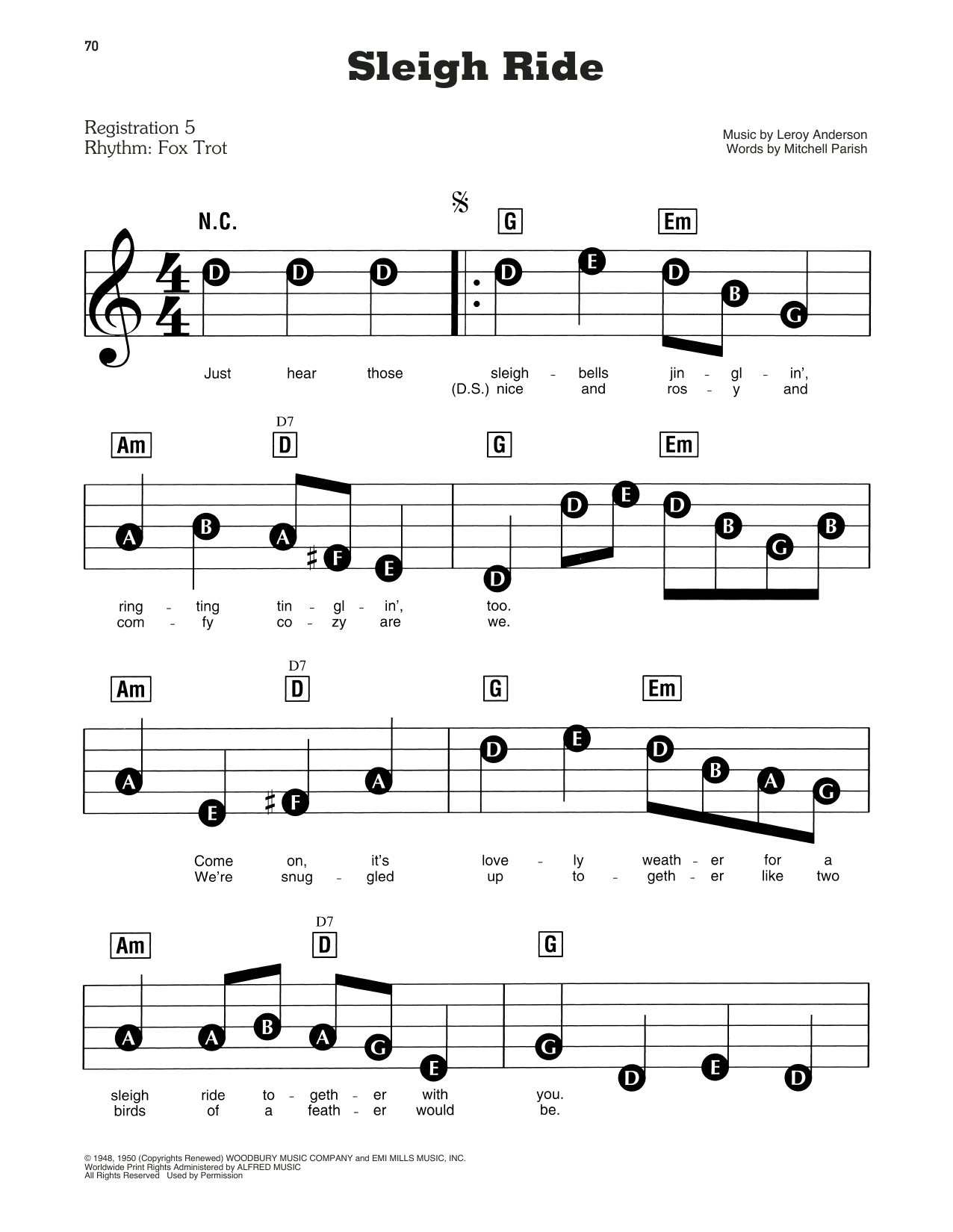 Leroy Anderson Sleigh Ride sheet music preview music notes and score for E-Z Play Today including 4 page(s)