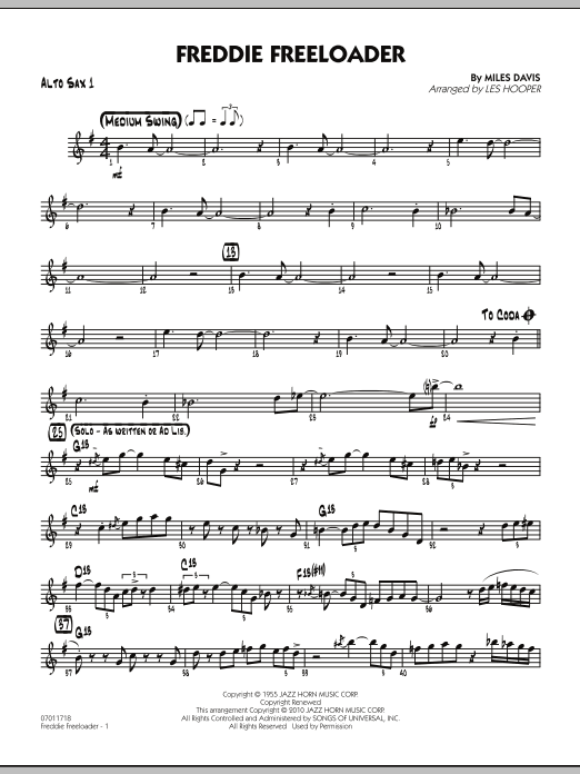 Les Hooper Freddie Freeloader - Alto Sax 1 sheet music preview music notes and score for Jazz Ensemble including 2 page(s)