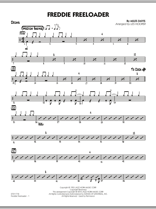Les Hooper Freddie Freeloader - Drums sheet music preview music notes and score for Jazz Ensemble including 2 page(s)