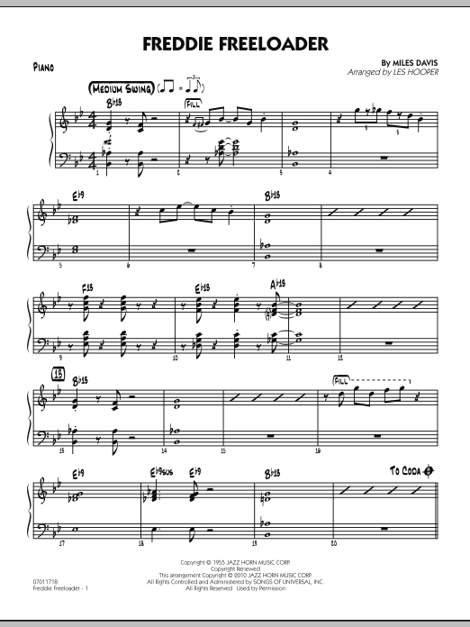 Les Hooper Freddie Freeloader - Piano sheet music preview music notes and score for Jazz Ensemble including 4 page(s)