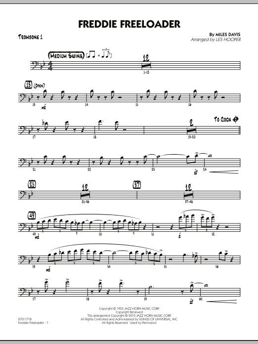 Les Hooper Freddie Freeloader - Trombone 1 sheet music preview music notes and score for Jazz Ensemble including 2 page(s)
