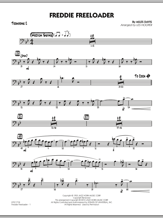 Les Hooper Freddie Freeloader - Trombone 2 sheet music preview music notes and score for Jazz Ensemble including 2 page(s)