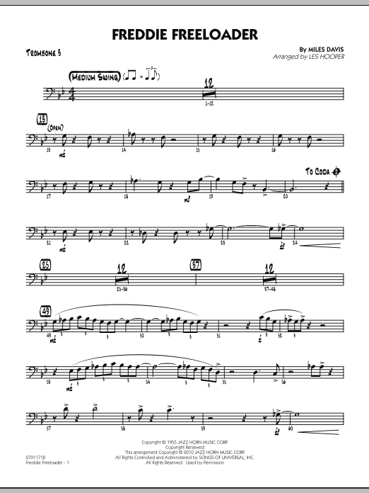 Les Hooper Freddie Freeloader - Trombone 3 sheet music preview music notes and score for Jazz Ensemble including 2 page(s)