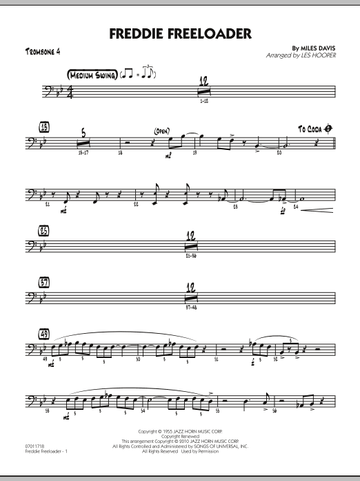 Les Hooper Freddie Freeloader - Trombone 4 sheet music preview music notes and score for Jazz Ensemble including 2 page(s)