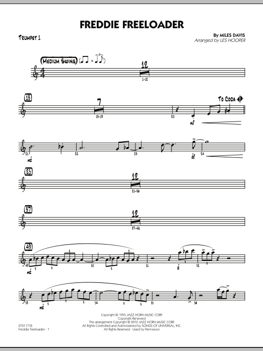 Les Hooper Freddie Freeloader - Trumpet 1 sheet music preview music notes and score for Jazz Ensemble including 2 page(s)