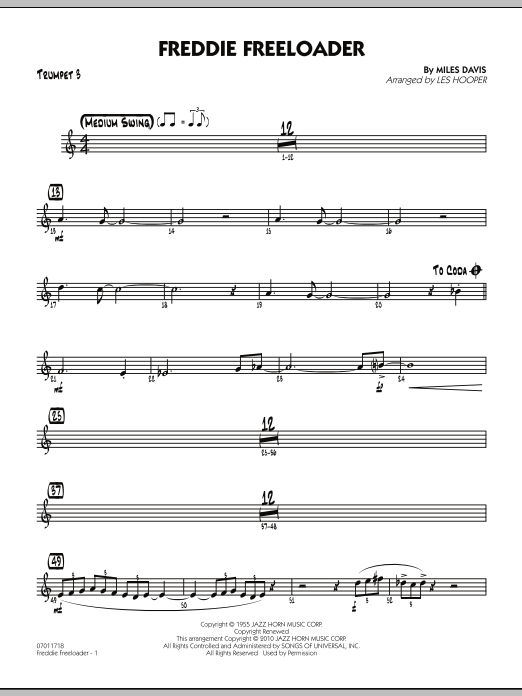 Les Hooper Freddie Freeloader - Trumpet 3 sheet music preview music notes and score for Jazz Ensemble including 2 page(s)
