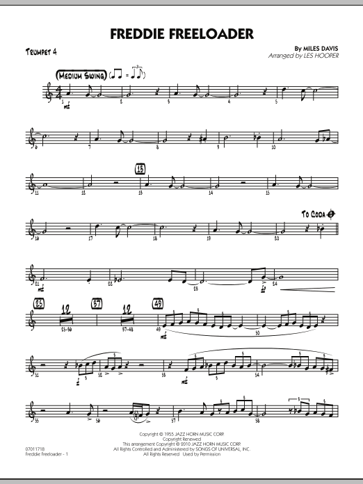 Les Hooper Freddie Freeloader - Trumpet 4 sheet music preview music notes and score for Jazz Ensemble including 2 page(s)