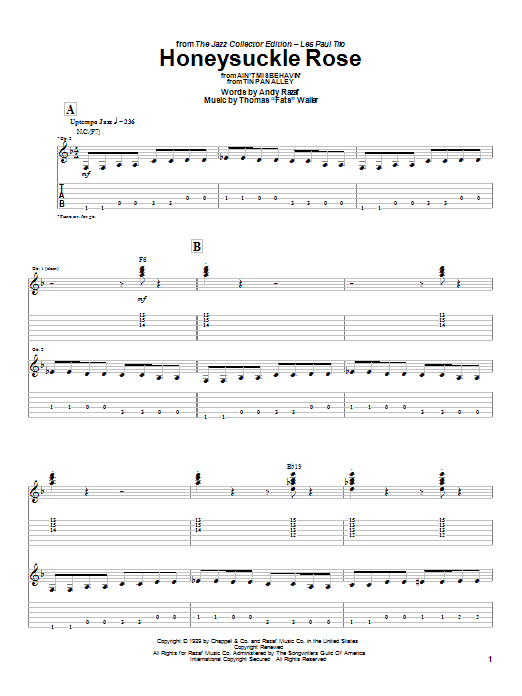 Les Paul Honeysuckle Rose sheet music preview music notes and score for Guitar Tab including 7 page(s)