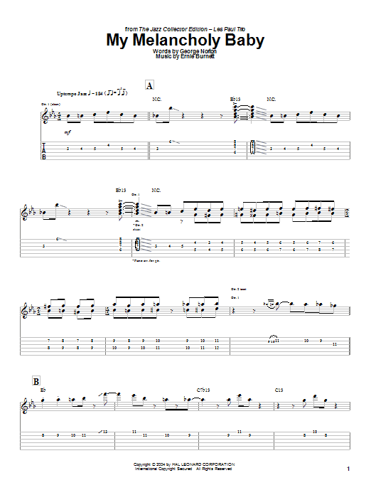 Les Paul My Melancholy Baby sheet music preview music notes and score for Guitar Tab including 4 page(s)