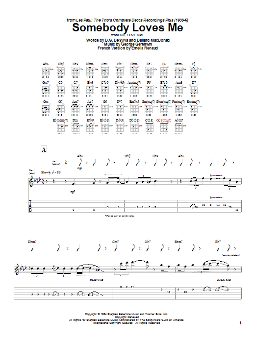 Les Paul Somebody Loves Me sheet music preview music notes and score for Guitar Tab including 8 page(s)
