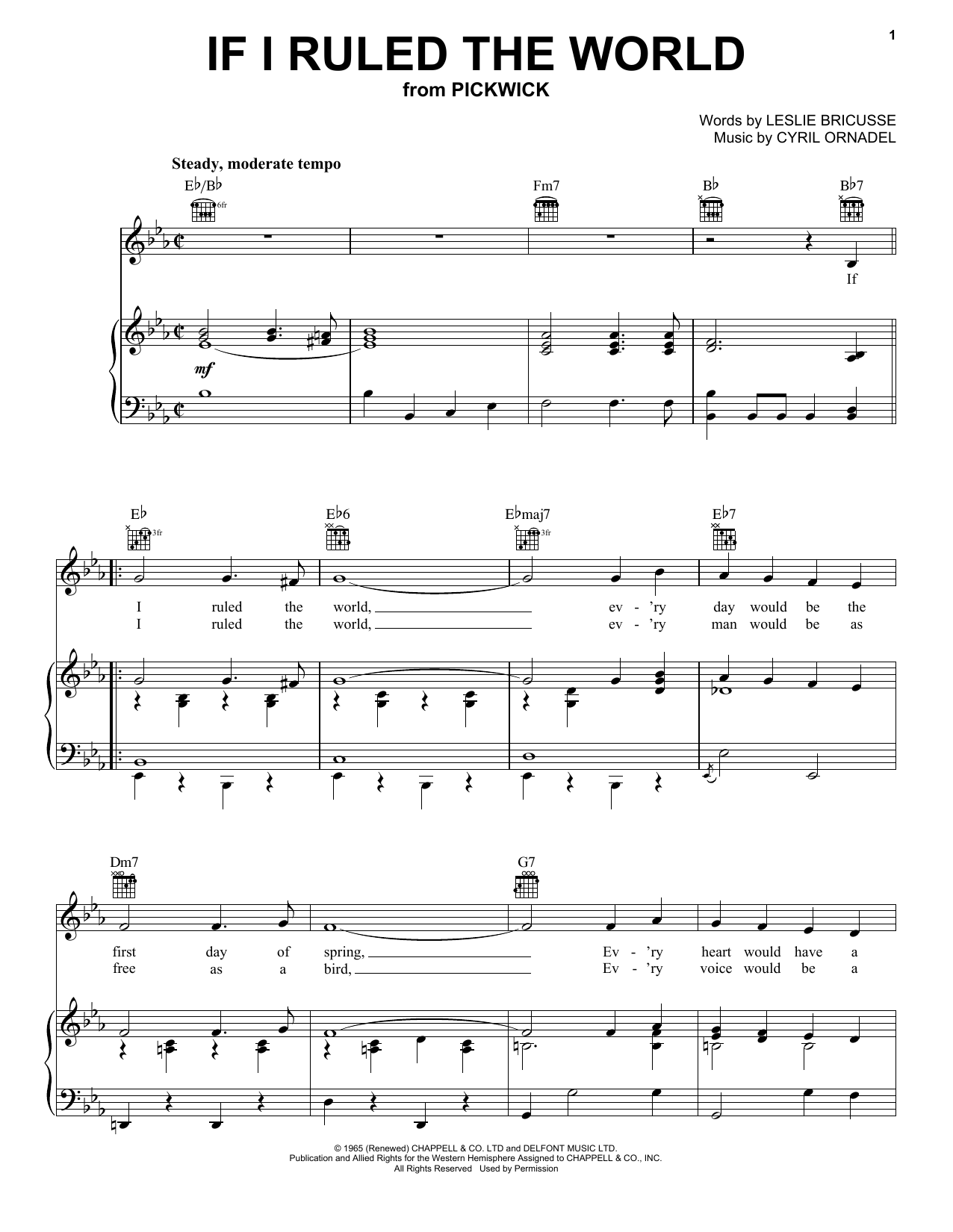 Harry Secombe If I Ruled The World sheet music preview music notes and score for Piano, Vocal & Guitar (Right-Hand Melody) including 5 page(s)