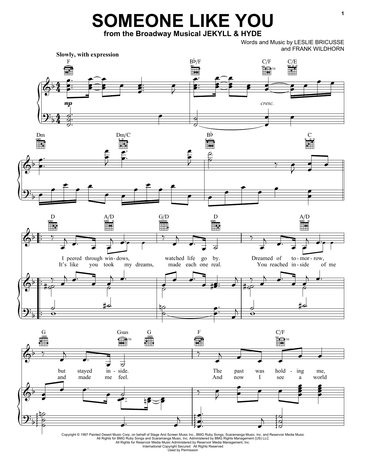 Leslie Bricusse Someone Like You sheet music notes and chords
