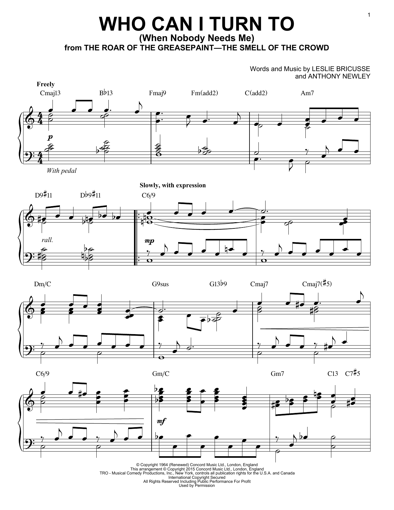Download Leslie Bricusse 'Who Can I Turn To (When Nobody Needs Me)' Digital Sheet Music Notes & Chords and start playing in minutes