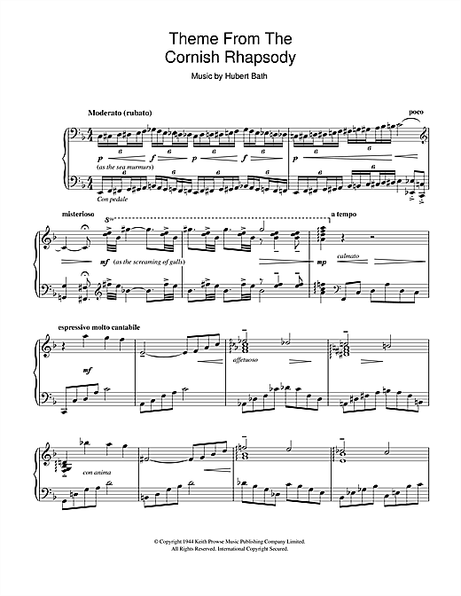 Download Liberace 'Cornish Rhapsody' Digital Sheet Music Notes & Chords and start playing in minutes