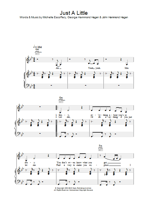Liberty X Just A Little sheet music preview music notes and score for Piano, Vocal & Guitar including 6 page(s)