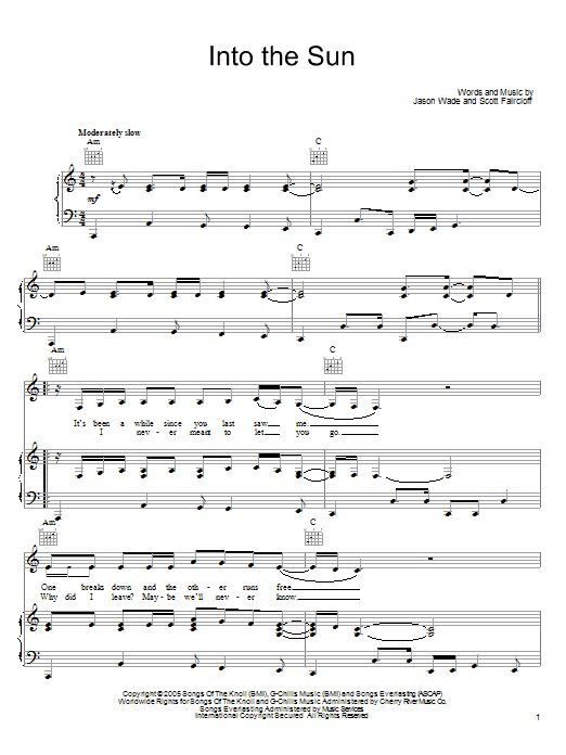Lifehouse Into The Sun sheet music preview music notes and score for Piano, Vocal & Guitar (Right-Hand Melody) including 5 page(s)