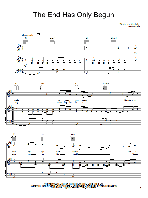 Lifehouse The End Has Only Begun sheet music preview music notes and score for Piano, Vocal & Guitar (Right-Hand Melody) including 5 page(s)