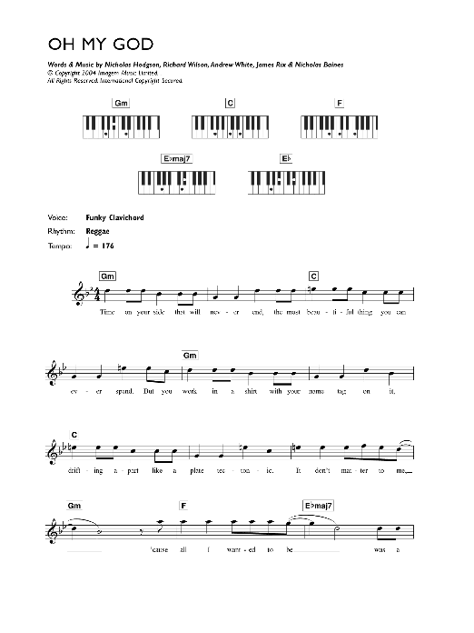 Lily Allen Oh My God sheet music preview music notes and score for Keyboard including 2 page(s)