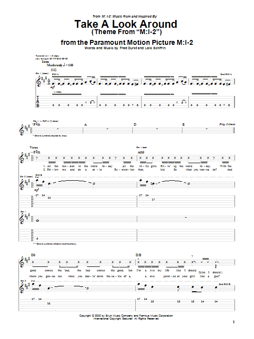 Limp Bizkit Take A Look Around (theme from Mission Impossible 2) sheet music preview music notes and score for Guitar Tab including 9 page(s)