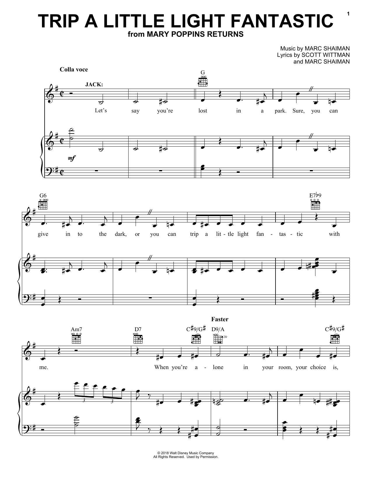 Lin-Manuel Miranda Trip A Little Light Fantastic (from Mary Poppins Returns) sheet music preview music notes and score for E-Z Play Today including 7 page(s)