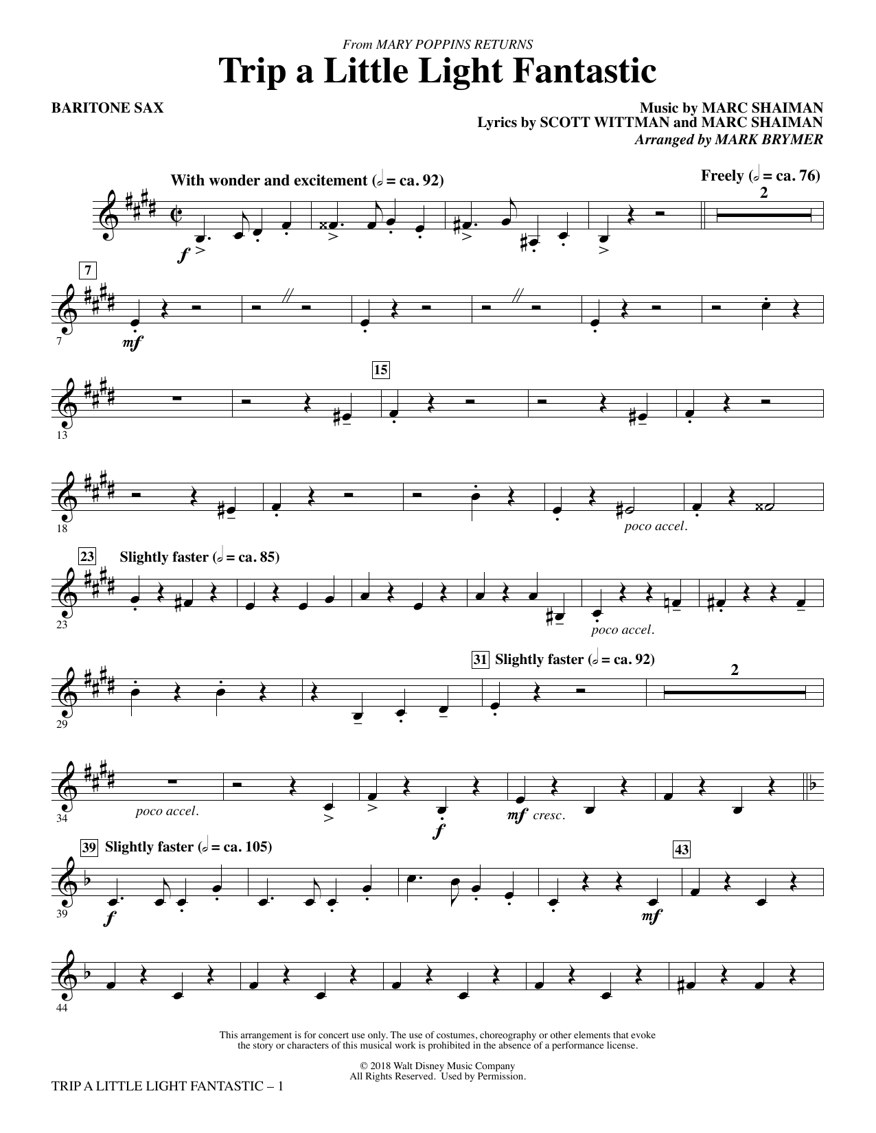 Lin-Manuel Miranda Trip a Little Light Fantastic (from Mary Poppins Returns) (arr. Mark Brymer) - Baritone Sax sheet music preview music notes and score for Choir Instrumental Pak including 3 page(s)