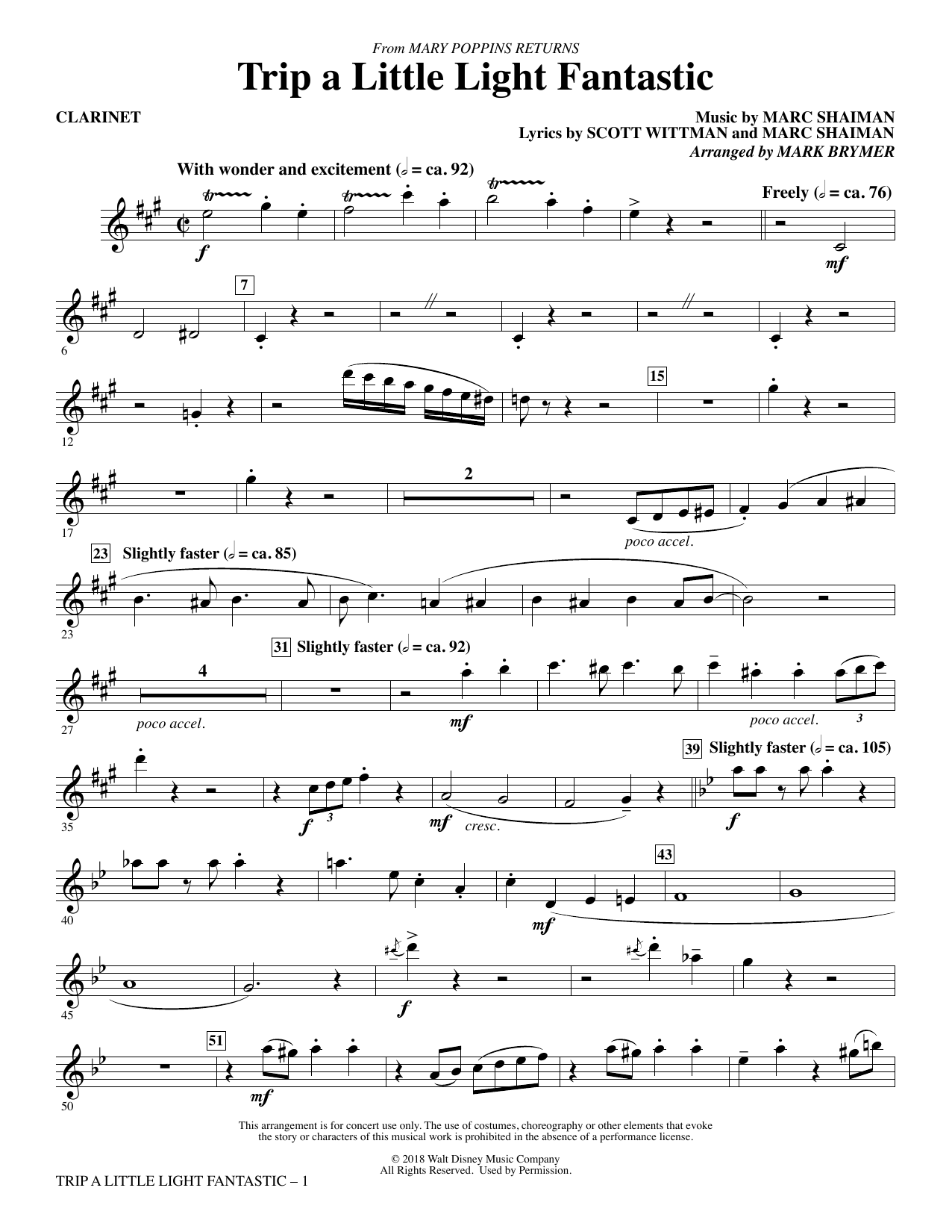 Lin-Manuel Miranda Trip a Little Light Fantastic (from Mary Poppins Returns) (arr. Mark Brymer) - Bb Clarinet sheet music preview music notes and score for Choir Instrumental Pak including 3 page(s)