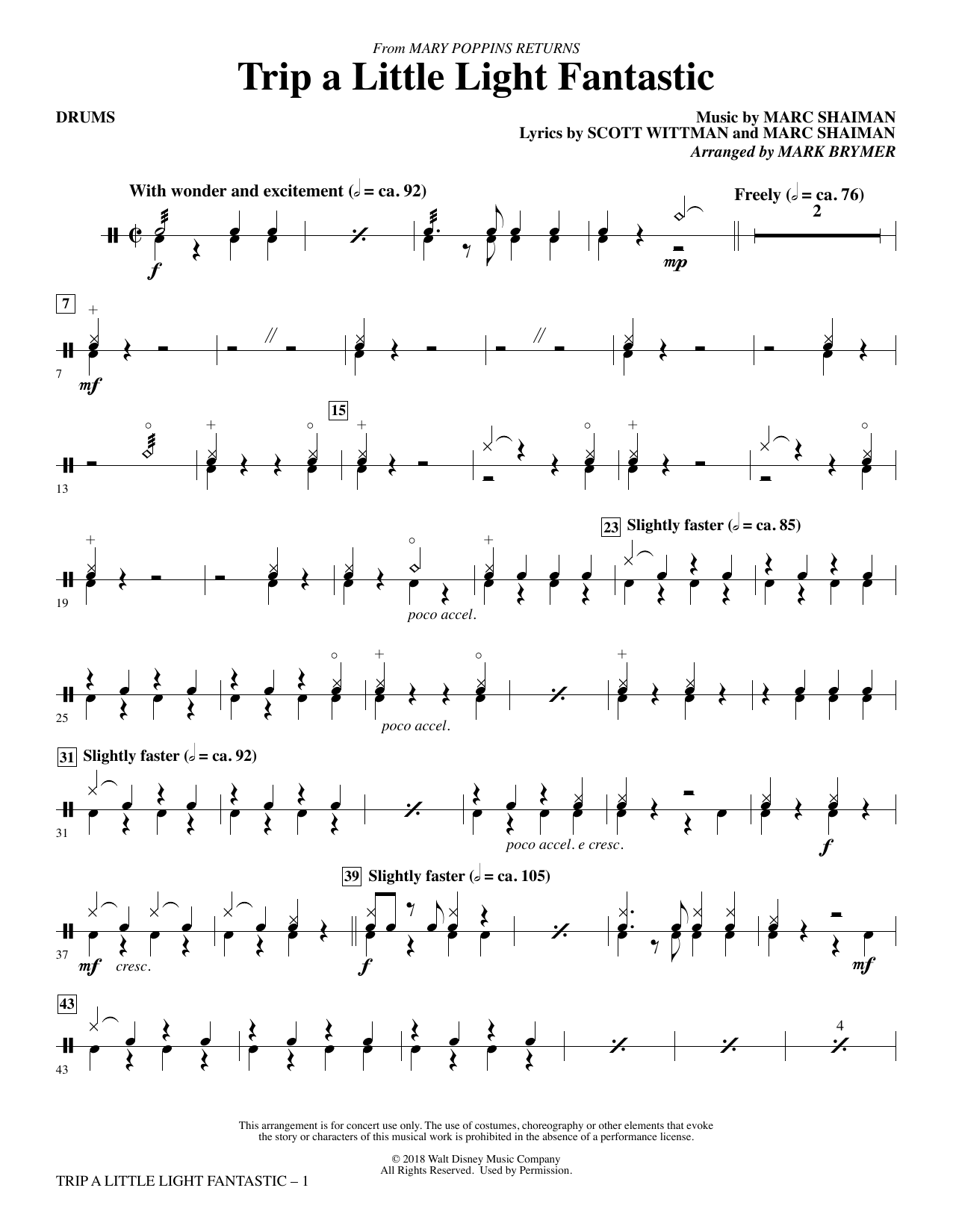 Lin-Manuel Miranda Trip a Little Light Fantastic (from Mary Poppins Returns) (arr. Mark Brymer) - Drums sheet music preview music notes and score for Choir Instrumental Pak including 3 page(s)