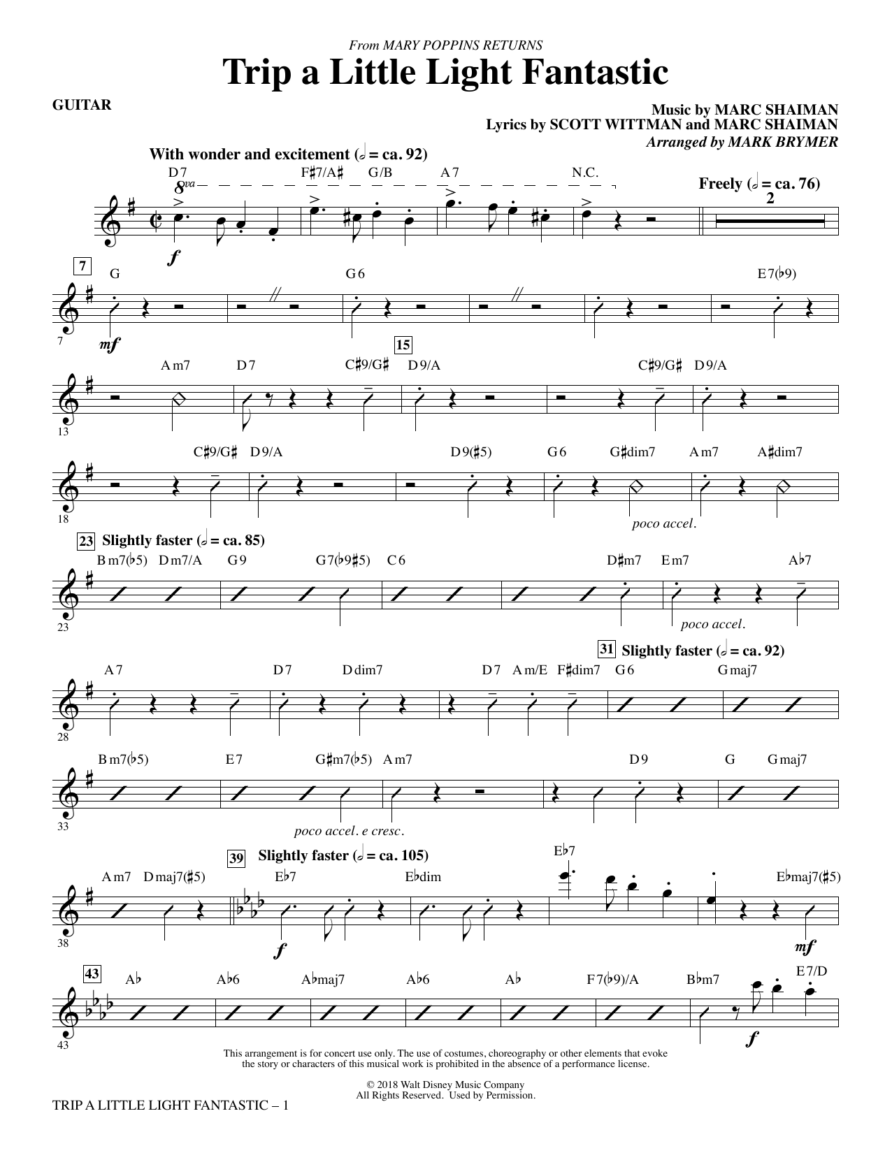 Lin-Manuel Miranda Trip a Little Light Fantastic (from Mary Poppins Returns) (arr. Mark Brymer) - Guitar sheet music preview music notes and score for Choir Instrumental Pak including 3 page(s)