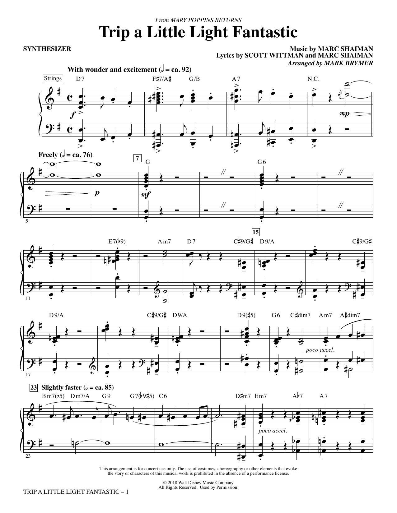 Lin-Manuel Miranda Trip a Little Light Fantastic (from Mary Poppins Returns) (arr. Mark Brymer) - Synthesizer sheet music preview music notes and score for Choir Instrumental Pak including 5 page(s)