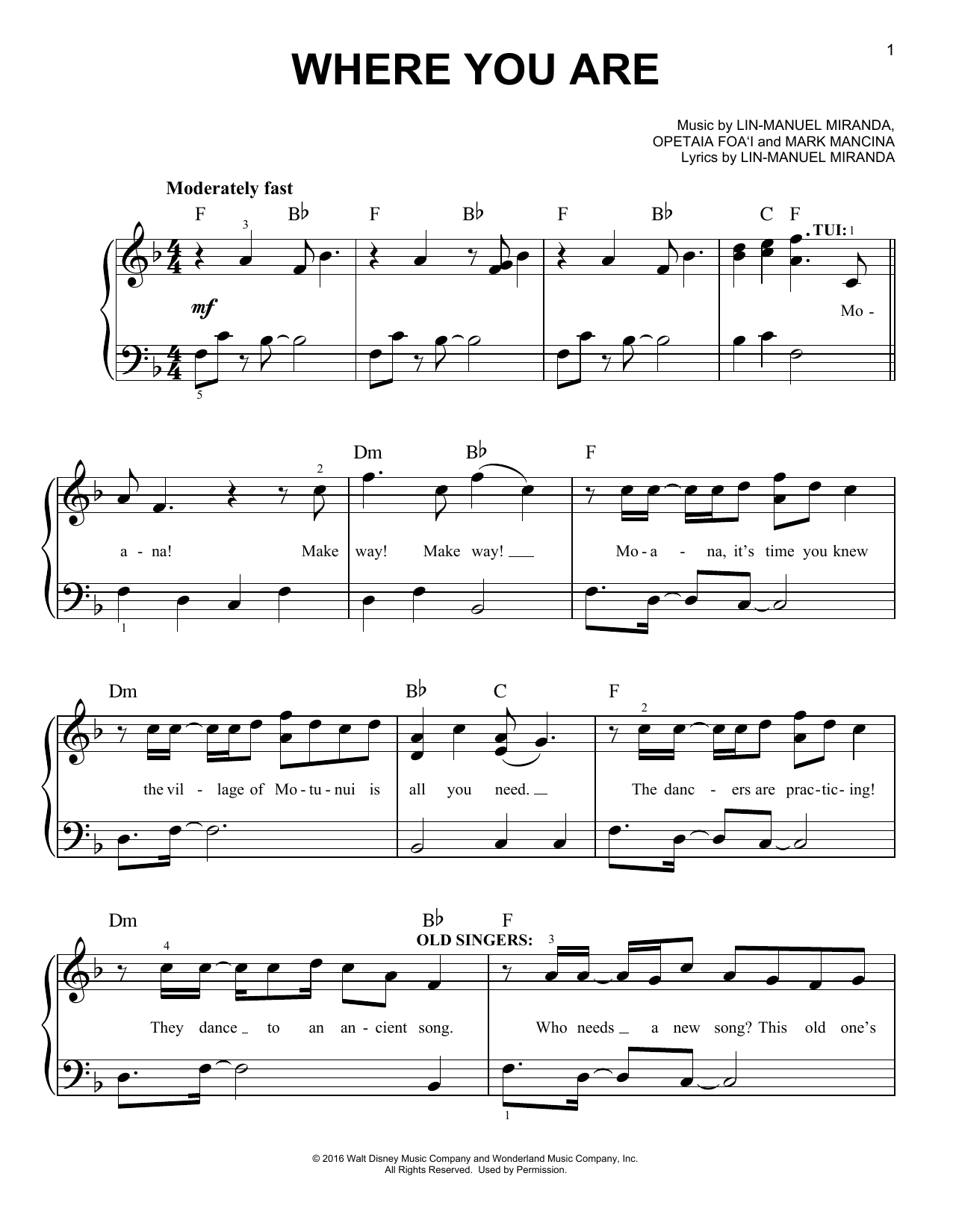 Lin-Manuel Miranda Where You Are (from Moana) sheet music preview music notes and score for E-Z Play Today including 9 page(s)