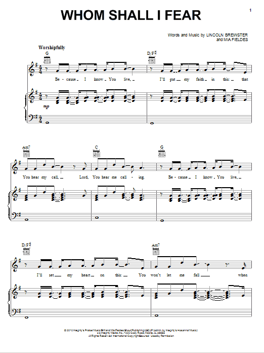 Lincoln Brewster Whom Shall I Fear sheet music notes and chords
