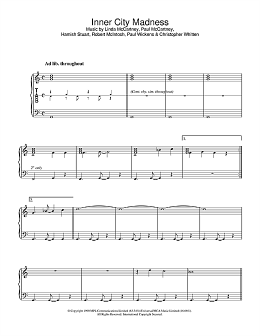Download Linda McCartney 'Inner City Madness' Digital Sheet Music Notes & Chords and start playing in minutes