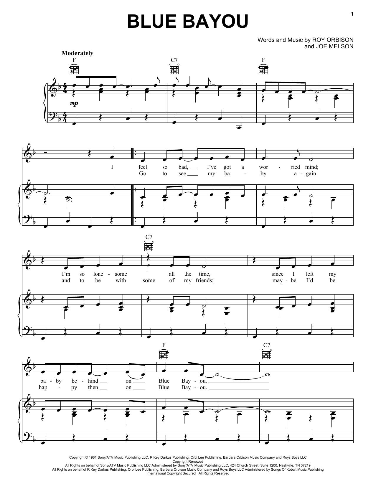 Linda Ronstadt Blue Bayou sheet music preview music notes and score for Piano, Vocal & Guitar (Right-Hand Melody) including 3 page(s)