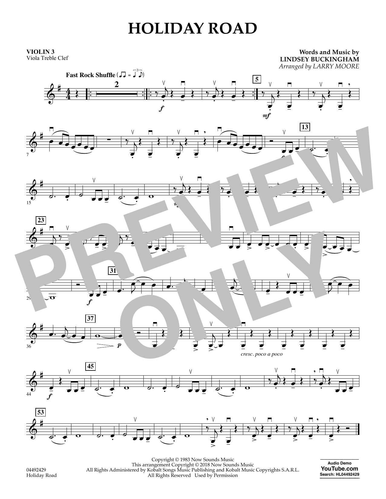 Lindsey Buckingham Holiday Road (from National Lampoon's Vacation) (arr. Larry Moore) - Violin 3 (Viola Treble Clef) sheet music preview music notes and score for Orchestra including 1 page(s)