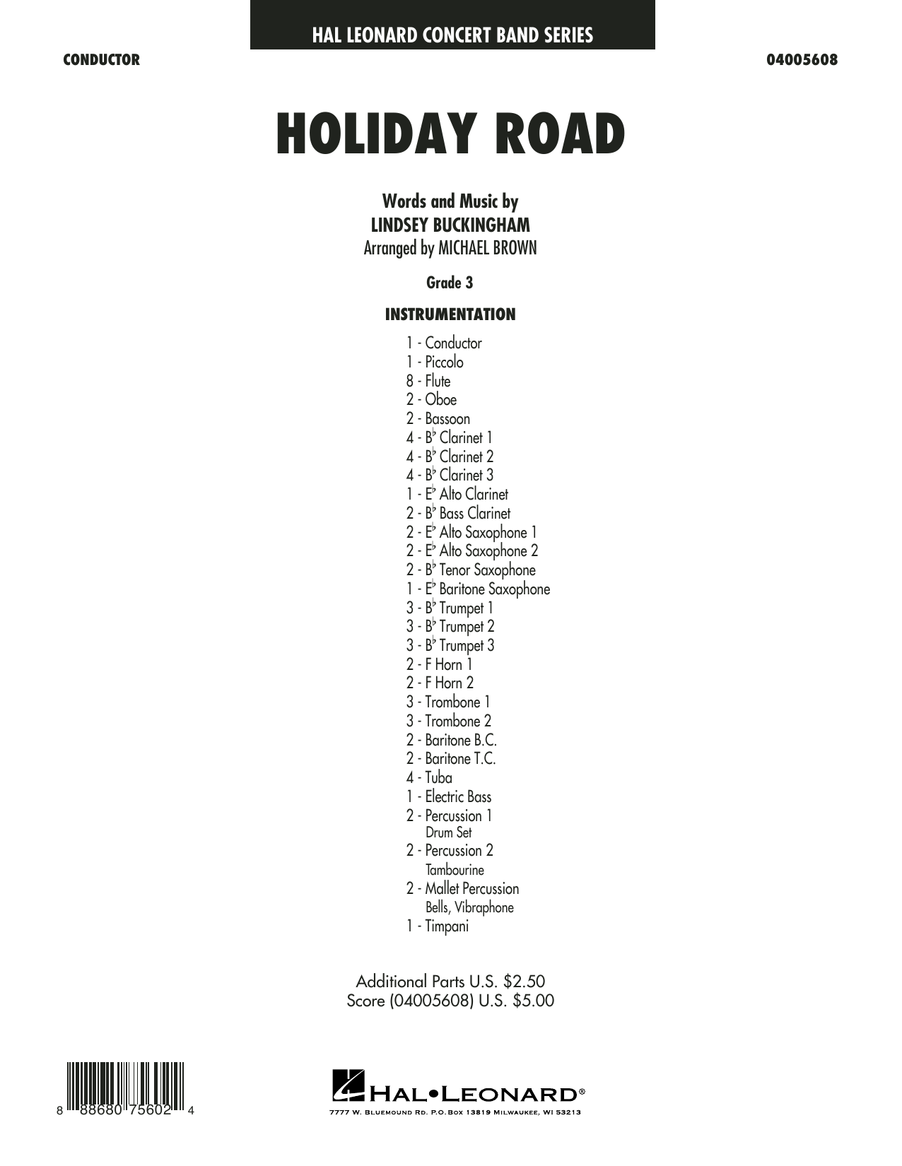 Lindsey Buckingham Holiday Road (from National Lampoon's Vacation) (arr. Michael Brown) - Conductor Score (Full Score) sheet music preview music notes and score for Concert Band including 16 page(s)