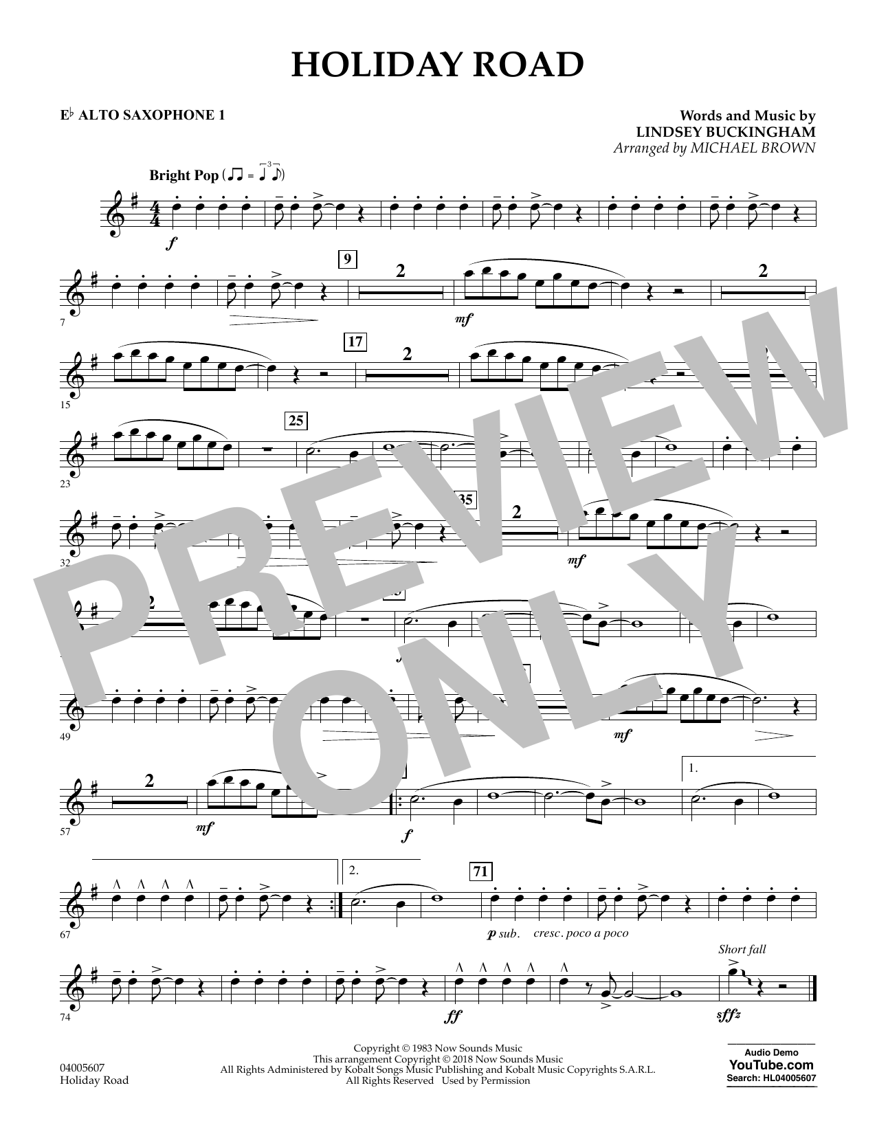 Lindsey Buckingham Holiday Road (from National Lampoon's Vacation) (arr. Michael Brown) - Eb Alto Saxophone 1 sheet music preview music notes and score for Concert Band including 1 page(s)