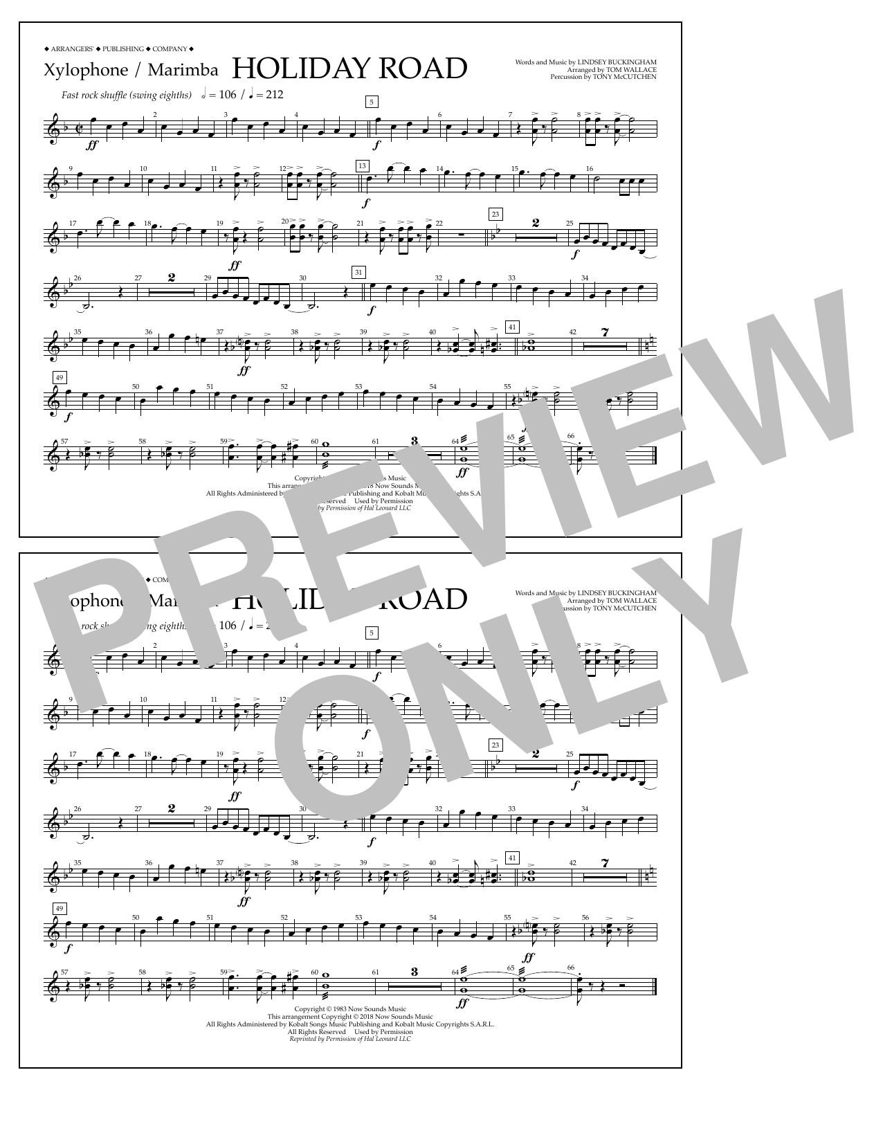 Lindsey Buckingham Holiday Road (from National Lampoon's Vacation) (arr. Tom Wallace) - Xylophone/Marimba sheet music preview music notes and score for Marching Band including 1 page(s)