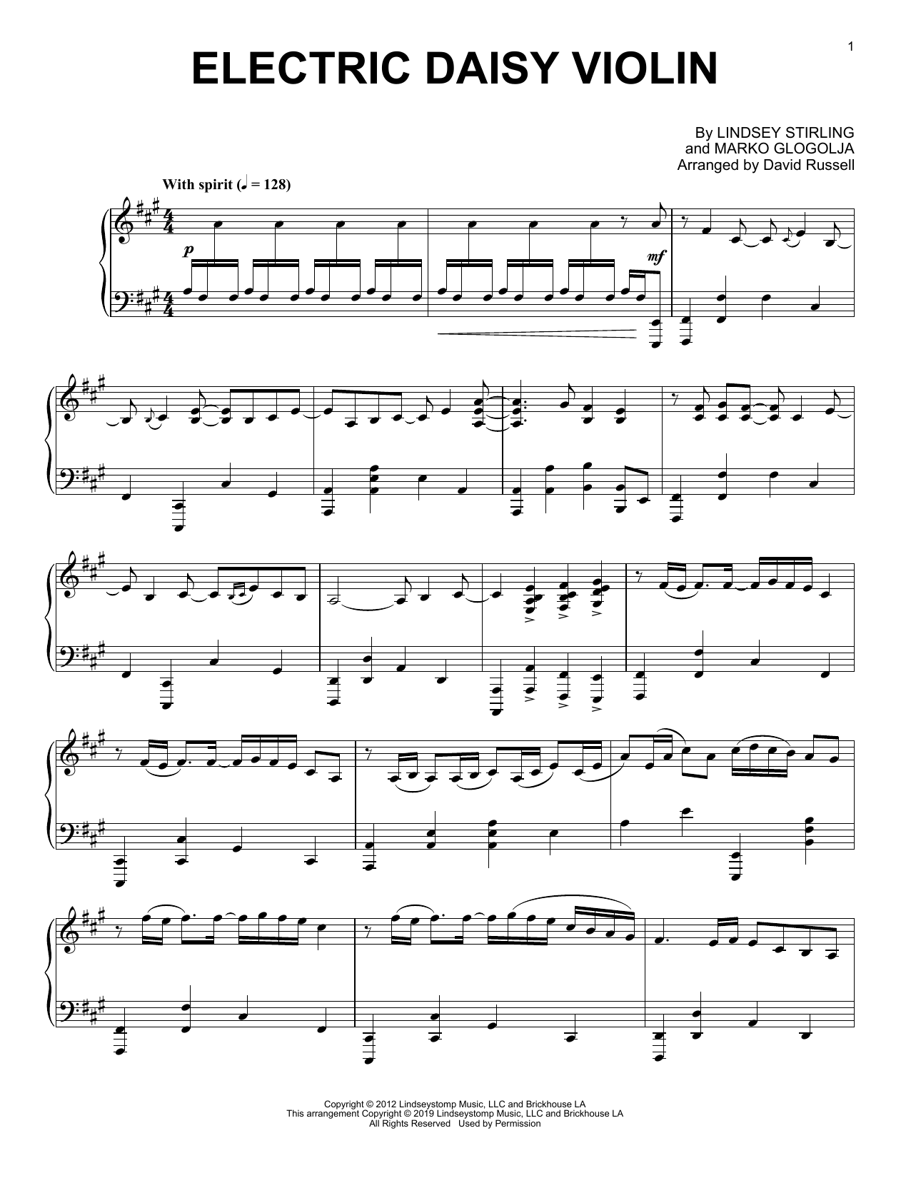 Lindsey Stirling Electric Daisy Violin sheet music preview music notes and score for Piano Solo including 5 page(s)